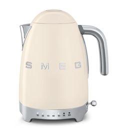 Smeg Bouilloire 50 S Retro Style Inox Crème Peint Vintage Design, Retro Design, Creme, Led, Kettle And Toaster Set, Range Cooker, Chrome Handles, Home Decor Accessories, Homes
