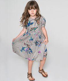Look what I found on #zulily! Gray Hummingbird Peasant Dress - Toddler & Girls by Yo Baby #zulilyfinds