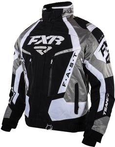 FXR Racing - 2015 Snowmobile Apparel - Men's Team FX Jacket - Black/White/Titanium
