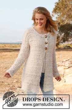 "Knitted DROPS jacket with dropped sts in ""Alpaca Bouclé"", ""Symphony"" and ""Cotton Viscose"". Size: S - XXXL. ~ DROPS Design"