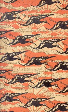 Flying cranes thru infinite sunrise. This fabric is probably Japanese due to the figures, but I have African fabric that also show repeating motifs like these.