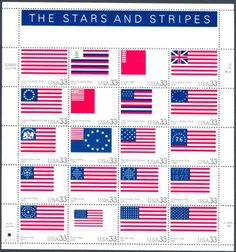 Twenty Stars and Stripes Flag Stamps . Vintage Unused US Postage Stamps
