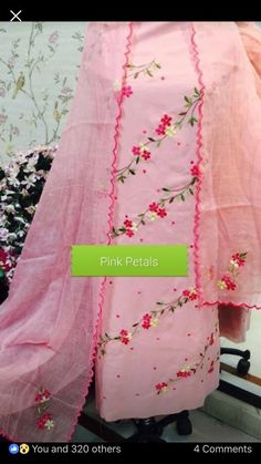 Embroidery Suits Punjabi, Hand Embroidery Dress, Wedding Embroidery, Embroidery Suits Design, Hand Embroidery Designs, Embroidery Ideas, Floral Embroidery, Punjabi Suits Designer Boutique, Boutique Suits