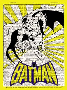 Batman In Yellow vintage dictionary print book page art print beautifully UpCycled 8x10