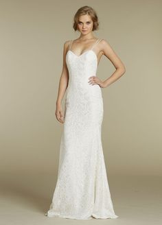 Bridal Gowns, Wedding Dresses by Blush - Style 1202....Fitted slim sheen lace bridal gown.