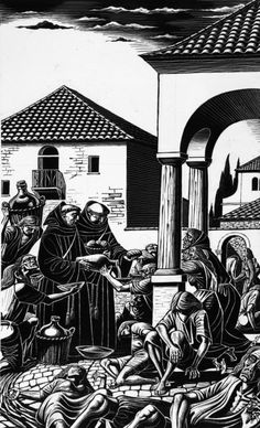 TO THE HUNGRY THEY DISPENSED SOUP, EGGS, BREAD AND WINE by ERIC FRASER, pen and ink on scraperboard