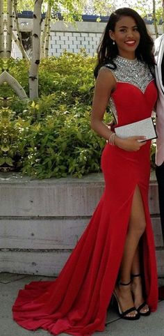 Prom Dresses,Mermaid Prom Dresses,Formal Gown,Corset Evening Gowns,Red Party Dress,Mermaid Prom Gown For Teens