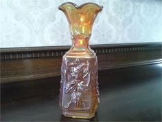Imperial Glass Mephisto Marigold Carnival Glass Vase FOR SALE on Artyah.com