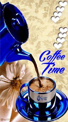 Время пить кофе - Анимации с надписями - Анимационные блестящие картинки GIF