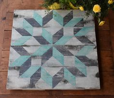 Distressed Teal And Gray Colored Barn Quilt 22 Inch
