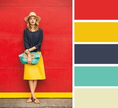 Red, mustard yellow, navy, turquoise