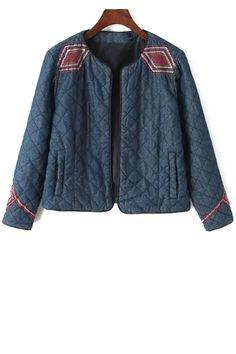 Argyle Embroidery Long Sleeve Jacket