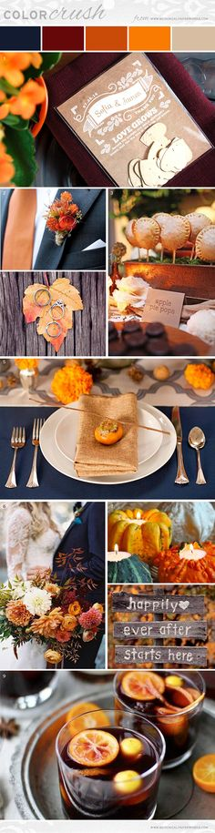 Planning an #autumn wedding? Get some great ideas with this classic fall #weddinginspo board. We LOVE all of the hues and textures you can work with! #weddinginspiration