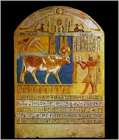 The Grand Egyptian Museum: Stela dedicated by Ptolemy V to the bull Buchis Ptolemaic period – Ptolemy V   Limestone, painted and gilded H. 72 cm; W. 50 cm; thickness 14 cm