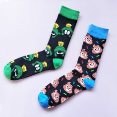 Beautiful Peonfly New Print Animals Plant Cute Cartoon Panda Octopus Whale Cactus Pattern Personality Pirate Flag Fashion Men Cotton Socks Men's Socks