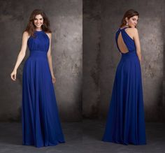Royal Blue Bridesmaid Dress Long Chiffon Bridesmaid Dress Elegant Dress To Party Vestido Para Madrinha beautiful bridemaid dress