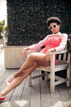 Model Ebonee Davis Talks Racism and Representation in Fashion: It was our absolute pleasure to spend an afternoon with her, dressing her in the colors of the season, and hearing all about what makes Ebonee, Ebonee. -- Red bodysuit and sneakers. | Coveteur.com