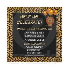 Good invitation idea for the Cheetah crazed 4 year old