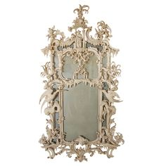 Ornate, hand-carved, hand-painted, Italian, Chippendale style mirror with original glass. Italy, 1930's - Dim: H: 57in, W:30.5in. // H: 145cm, W: 77cm.