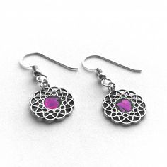 Sterling Silver and Hot Pink Earrings Punk Rock by LoralynDesigns, $39.99