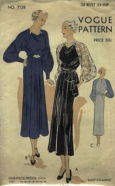 30s vintage fashion style dress evening dinner black velvet lace blue silk rayon belt draping late art deco shoes pin brooch illustration print ad Vogue 7138, 1930s sewing pattern [at www.bestvintagepatterns.com]
