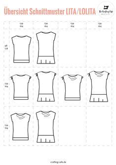 übersicht schnittmuster shirt und kinderkleid lolita