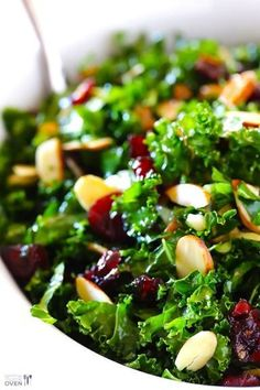 *Kale Salad with Warm Cranberry Vinaigrette -- easy, healthy, and so tasty.  It's a recipe everyone will love! gimmesomeoven.com #salad #recipe