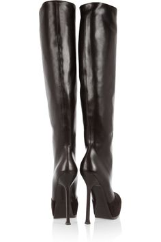22094a0ccd5 YSL Tribtoo leather and suede knee boots Knee High Wedge Boots