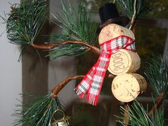 Wine+Cork+Ornament+Snowman+by+AfterWine+on+Etsy,+$7.00