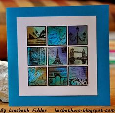 'Travel Inchies' rubber stamps DDRS121 by Darkroom Door. Card created by Liesbeth Fidder.