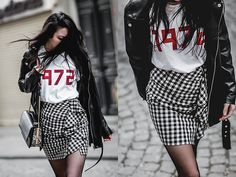 Get this look: http://lb.nu/look/8695255  More looks by Elifnaz Kuşkaya: http://lb.nu/user/3307821-Elifnaz-K  Items in this look:  Nakd Faux Leather Jacket, H&M Gingham Skirt, Topshop Slogan Tee   #casual #chic #street #fblogger #fbloggers #statementtee #slogantshirt #gingham #spring