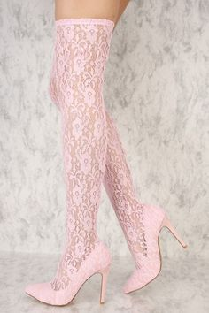 e8095474704 Pink Embroider Floral Lace Pointy Toe Thigh High Heel Boots  AD