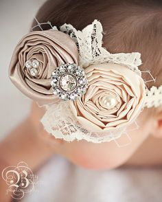 Newborn headband...Baby Headband.....Vintage inspired Hair bow in Ivory and Champagne.....girls....teenager...and women via Etsy