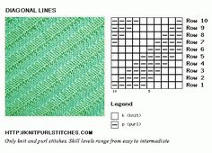 Diagonal Lines. Knit chart. Easy knit and purl