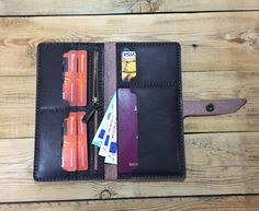 Wallet phone case , FREE SHIPING travel wallet organizer, bifold leather wallet, leather long wallet, travel gift, travel accessories by MyWayLeather on Etsy