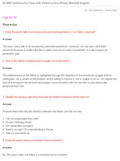NCERT Solutions For Class 11 English Hornbill Father to Son #NCERT #NCERTsolutions #CBSE #CBSEclass11 #CBSEclass11English