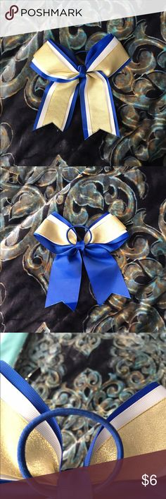 Cheer Bow - Cheer Bow/ New Without Tags( never came with tag ) / - Blue , White , &a Gold / - Very Large Accessories Hair Accessories