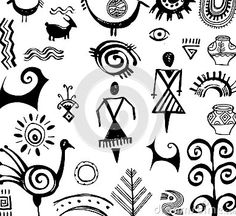Illustration about Set of primitive ethnic hand drawn drawings. Illustration of people, anthropology, meander - 32281646 Arte Tribal, Tribal Art, Ancient Symbols, Ancient Art, Native Art, Native American Art, Motifs Primitifs, Worli Painting, Cave Drawings