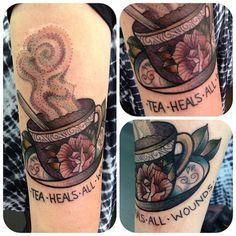 tea tattoo . Done at @goodlucktattoo (at Good Luck Tattoo)