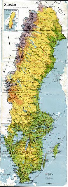 Sweden Map, 1967