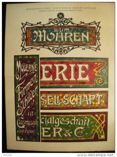 Planche ART NOUVEAU - A. KÖHLER - Enseigne en mosaiques - Allemagne -
