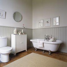 Bathroom Decor Ideas : Description Country bathroom-cast iron tub,beadboard or woodpanellingon walls Wood Panel Bathroom, Wainscoting Bathroom, Painted Wainscoting, White Bathroom, Wainscoting Height, Black Wainscoting, Wainscoting Stairs, Cream Bathroom, Paint Bathroom