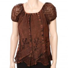 Scully Cap Sleeve Embroidered Blouse