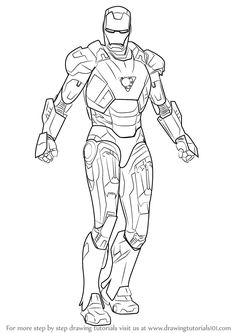Learn How to Draw Iron Man (Iron Man) Step by Step : Drawing Tutorials
