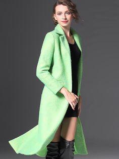Buy Green Lapel Long Sleeve Pockets Coat from abaday.com, FREE shipping Worldwide - Fashion Clothing, Latest Street Fashion At Abaday.com