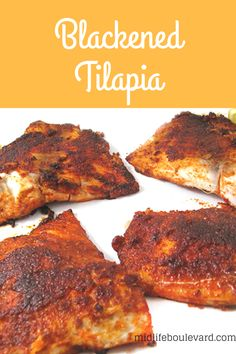 Easy and Delicious Blackened Tilapia Recipe via @midlifeblv How To Bake Tilapia, Healthy Tilapia Recipes, Talapia Recipes Healthy, Shrimp Recipes, Salmon Recipes, Talpia Recipes, Dinner Recipes, Cooking Recipes, Dinner Ideas
