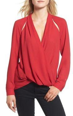47c3fb6ca0a183 Trouve Women s Cutout Surplice Top Trendy Fashion