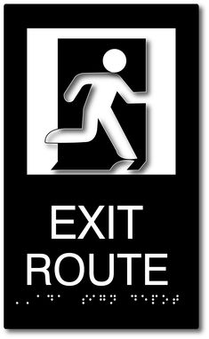 Exit Route Sign with Running Person Symbol - ADA Compliant Ada Signs, Exit Sign, Ada Compliant, Sign Design, Signage, Symbols, Letters, Running, Projects