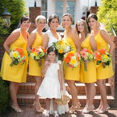 To add a pop of color to your wedding use yellow! This bold shade of yellow will make your wedding look sunny and bright! Perfect for a summer wedding! Wedding Show, Wedding Pics, Wedding Stuff, Dream Wedding, Wedding Ideas, Summer Wedding, Yellow Bridesmaid Dresses, Wedding Dresses, Bridesmaid Gowns