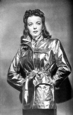 Ida Lupino in a metallic leather jacker. c. 1940s